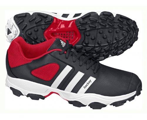ADIDAS Hockey Attack Unisex Hockey Shoe, Black/White/Red, UK10.5