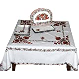 White Tablecloth and Napkins Cotton Embrodered 121 x 121 Cmsby ShalinCraft