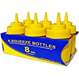 New Star 26054 Wide Mouth Plastic Squeeze Bottles, 8-Ounce, Yellow, Set Of 6
