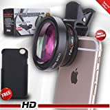 FabQuality UNIVERSAL Professional HD Camera Lens Kit for iPhone + Smartphone, Plus Bonus FREE iPhone 6 Camera Lens CASE (0.45x Super Wide Angle Lens, 12.5x Super Macro Lens) Great Mobile Phones Gift