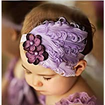 Lovely Ovely Unusal Cotton Girls Baby Light Purple Feather Hairband Black Flower Headband