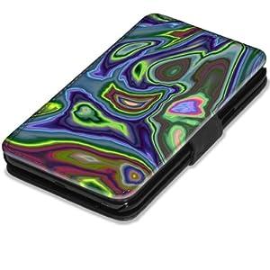 Abstrait 10043, Moderne, Etui Personnalisé Coque Housse Cover Coquille en Cuir Noir avec l'Image Coloré pour Samsung Galaxy Note 2 N7100.