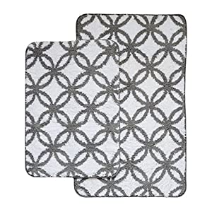 Amazon Com Charcoal Gray And White 2 Pc Plush Circular