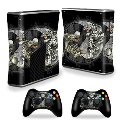 Protective Vinyl Skin Decal Cover for Microsoft Xbox 360 S Slim + 2 Controller Skins Sticker Skins Yin And Yang