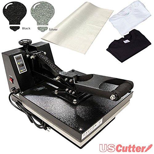 USCutter 15 x 15 Digital Heat Press w/BONUS: Tshirts, Glitter HT Vinyl, Non-Stick Sheet (Heat Press With Swing Arm compare prices)