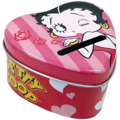 1.75 Inch Betty Boop Blowing Kisses Heart Shaped Tin Money Bank