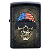 American Flag on Military War Helmet Skull Face Black Matte Custom Zippo Windproof Collectible Lighter. Made in USA Limited Edition & Rare