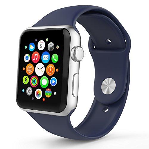 Apple Watch バンド - ATiC Apple Watch 42mm 2015 /Apple Watch 2 42mm(series 2 2016)専用 ヘッダー一体型 ソフト 高級 シリコーン製腕時計ストラップ/バンド 交換ベルト Midnight BLUE (Apple Watch 38mm 2015に適応できない)
