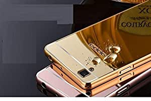 Oppo f1 Luxury Metal Bumper + Acrylic Mirror Back Cover Case For Oppo f1 By Vinnx - Golden With Free Key Ring