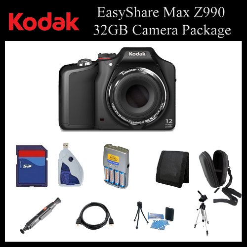Kodak EasyShare Max Z990 12MP Digital Camera (Black) - 1773662 - 32GB Digital Camera Package