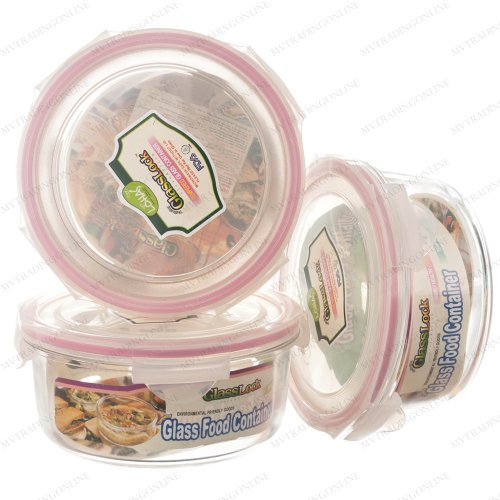 Rounded Tempered Glass Food Container 950Ml Rp536 - Glasslock Airtight Anti Spill