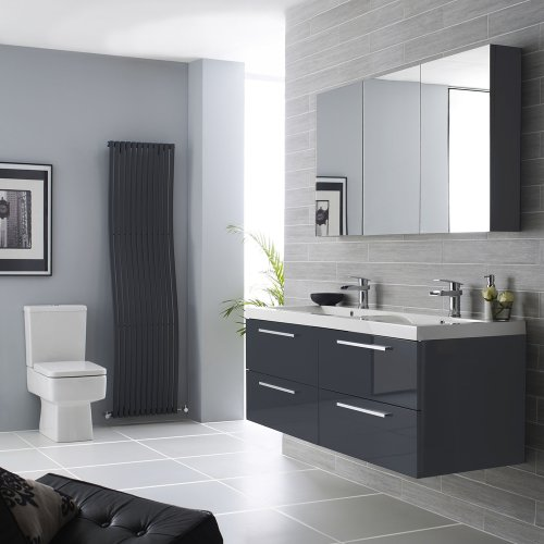 Fancy Hudson Reed Quartet mm Bathroom Vanity Unit Basin Sink and Mirror Cabinet In High Gloss Grey