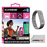 Xfit Wireless Bluetooth Activity / Fitness Tracker With Sleep Monitor - Includes 1 Colored Band in Total Works for Iphone 6, 6 Plus, 5s, 5c, 5, 4s, Samsung Galaxy S5, S4, S3, Note 2, Tab 4, Ipad 3, Ipad Air, Mini, Ipad, Ipad Retina, Ipad Touch Gen 5 or newer - Gray
