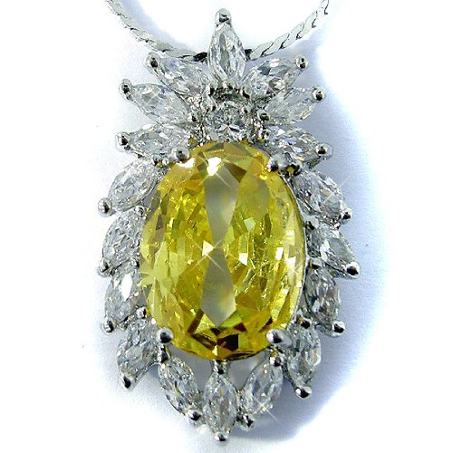 Citrine Color CZ Oval Silver Tone Pendant with 18Necklace