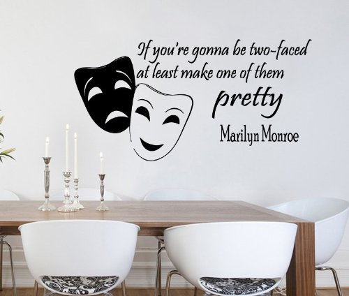 Housewares Vinyl Decal Marilyn Monroe Quote If You Gonna Be Two-Faced Home Wall Art Decor Removable Stylish Sticker Mural Unique Design For Any Room front-116376