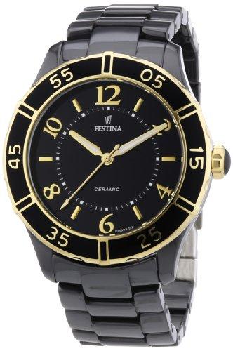 Festina F16633/2 - Reloj analógico de cuarzo para mujer con correa de cerámica, color negro