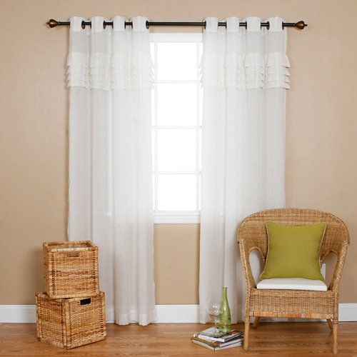 Iyuego Grommet Top Pleated White Sheer Window Curtains Drape Panels Treatment Grommet Top With
