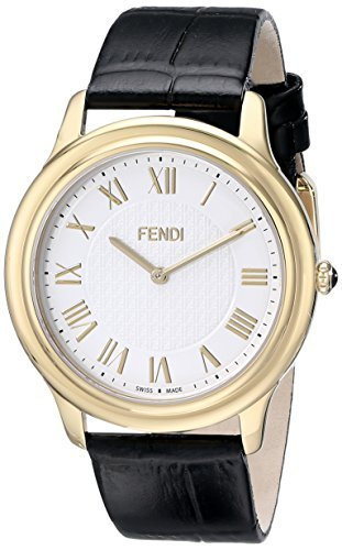 時計 Fendi フェンディ Men's F250414011 Classico Gold-Tone Stainless Steel Watch with Black Leather Band メンズ 男性用 [並行輸入品]