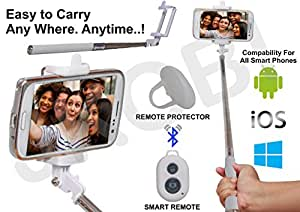 Selfie Stick Monopod With Bluetooth Remote Wireless Shutter Connectivity Compatible For Panasonic Eluga U2 -White