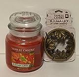 Yankee Candle Gift Set AUTUMN LEAVES 14.5 oz Medium Jar Candle with a Fall Leaves and Acorns Illuma-lid