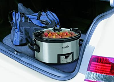 Premium Crock Pot Slow Cooker Programmable Crockpot 6 Quart Portable in Silver Oval Design