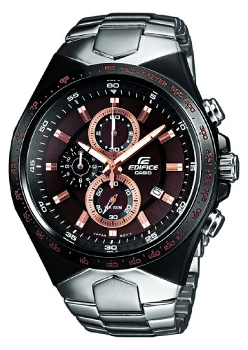 Casio EF-534D-5AVEF Edifice Gents Watch Quartz Analogue Brown Dial Chronograph Steel Strap
