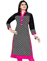 Meher Impex Black And White Printed Cotton Kurti With Plain Black Shoulders And Pink Pippins