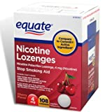 Equate - Nicotine Lozenge 4 mg, Stop Smoking Aid, Cherry Flavor, Lozenges, 108-Count