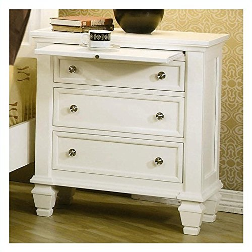 Coaster Nightstand With Pull Out Tray In White Finish