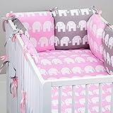 Set de 10 piezas de ropa de cama de beb�: protector de cuna 6 unidades, Edred�n para beb� tama�o grande, con funda de edred�n, funda de almohada, dise�o de elefantes oreiller. de atril para tel�fonos m�viles, color Gris rosa Rose Gris Talla:lit b�b�