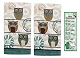 Spice Road Owl 2-Piece Terry Towels from Kay Dee Designs with Bookmark