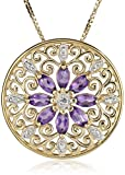 18k Yellow Gold-Plated African Amethyst and Diamond Accent Pendant Necklace, 18""