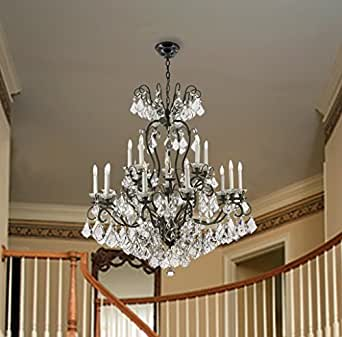 Wrought Iron And Crystal 16 Light Chandelier 2 Tier Light Fixture Living Room