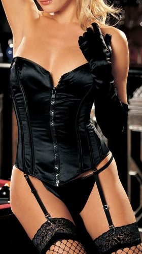 Shirley of Hollywood Women's Satin Corset With Zipper,Blk,38