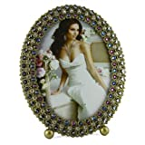 Luxury Diamante Crystals & Pearls Oval Photo frame -- (Size:6 x 8 inch)