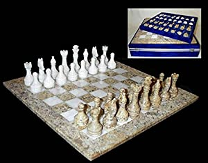 Handcrafted White Marble and Fossil Stone Chess Set with Storage Case - 16 Inch Board
