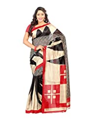 Prafful White Bhagalpuri Silk Fashionable Printed Saree With Unstitched Blouse Piece