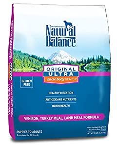 Natural Balance Original Ultra Whole Body Health Venison, Turkey Meal, Lamb Meal Formula for Dogs, 13-Pound Bag