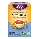 Yogi Teas Honey Lavender Stress Relief, 16 Count, Packaging May Vary (Color: Yellow and Blue, Tamaño: 16 Count)
