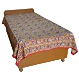 Block Printed Floral Bagru Print Design Cotton Flat Single Bed Sheet - B00GSSOWE8