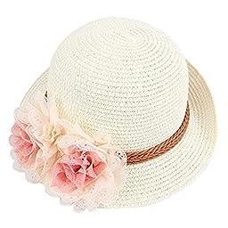 Dealzip Inc® Lovely Kids Little Girls Girly Summer Straw Beach Sun Hat with Flower Accent (Cream White)