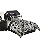 Hallmart Collectibles 64126 10-Piece Ebony and Ivory Comforter Set, King, Black/White