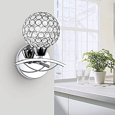 Lightess Modern Crystal Bath Wall Sconce Lamp Mirror Lighting Fixture