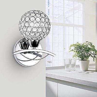 Lightess Modern Crystal Bath Wall Sconce Lamp Mirror Lighting Fixture