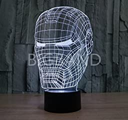LED Night Lamp - Kids Desk Room Art Sculpture Lights up in Different Colors and Produces Unique Lighting Effects and 3d Visualization - Amazing Optical Illusion (Iron man)