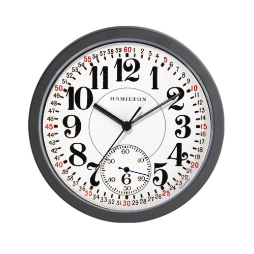 CafePress Hamilton Railroad Pocket Watch Wall Clock - Standard Multi-color