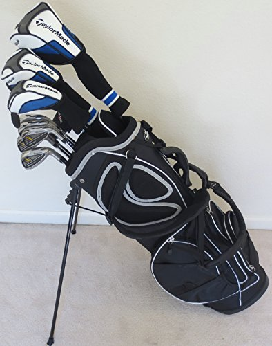 Mens Taylor Made Complete Golf Clubs Set Stiff Flex Driver, Fairway Wood, Hybrid, Irons, Putter, Stand Bag Taylormade