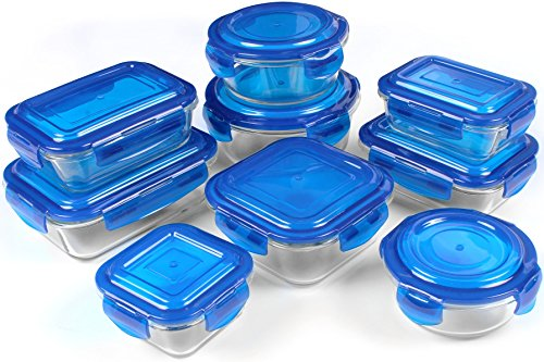 Glass Food Storage Container Set - Blue - BPA Free - FDA Approved - Reusable - Multipurpose Use for Home Kitchen or Restaurant - (18 Piece) - by Utopia Kitchen (Oven Safe Glass Jars compare prices)