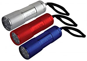 GreatLite 32847 3AAA Mini LED Aluminum, 3-Pack, Silver, Red and Blue