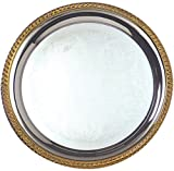 American Metalcraft GBTR14 Round Affordable Elegance Chrome Serving Trays with Gold Trim, 14-Inch